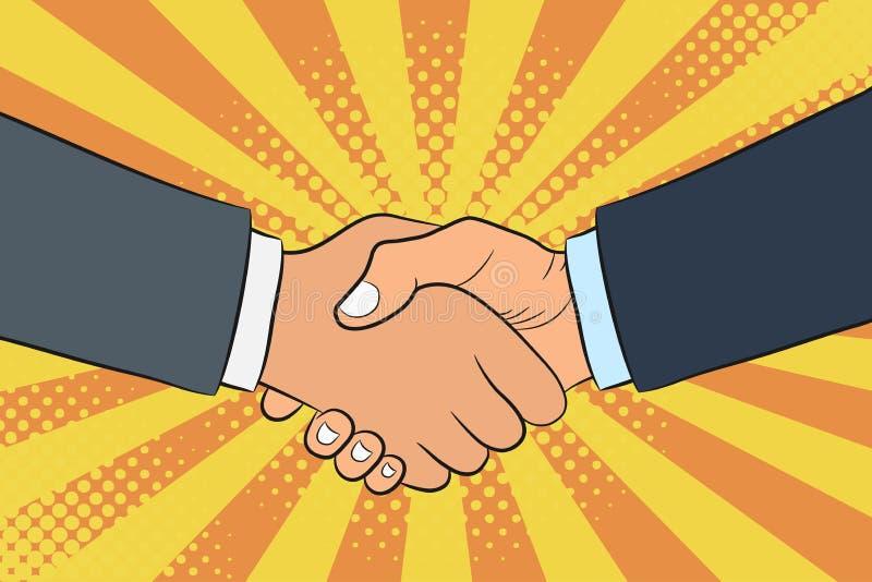 Ilustração do aperto de mão no estilo do pop art Businessmans agita as mãos Parceria e conceito dos trabalhos de equipa ilustração royalty free