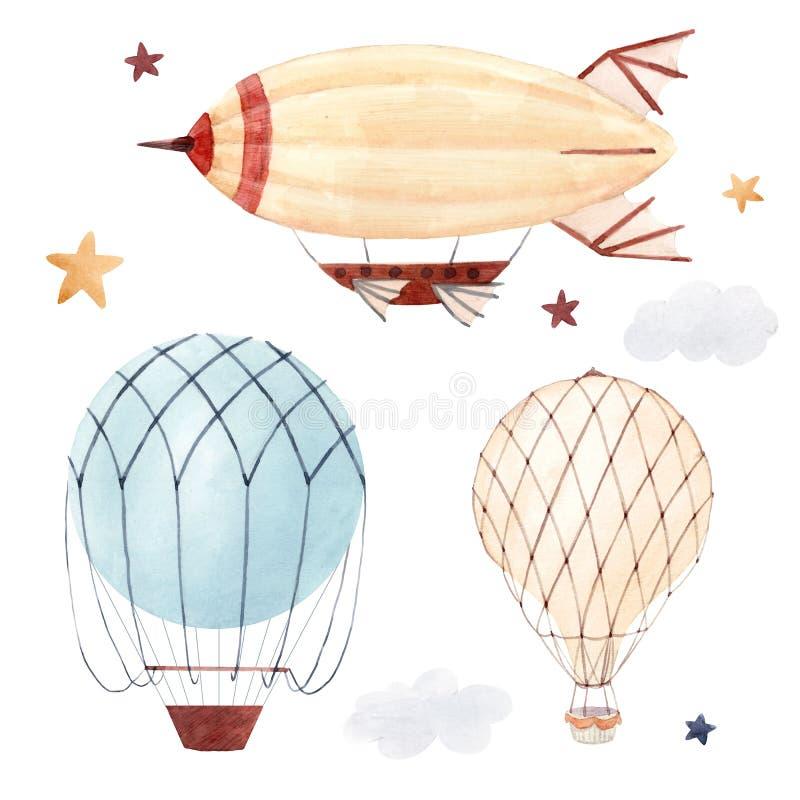 Ilustração do baloon do ar da aquarela ilustração do vetor