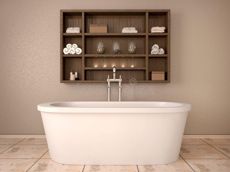 Ilustração do banheiro moderno com prateleiras de madeira ilustração do vetor