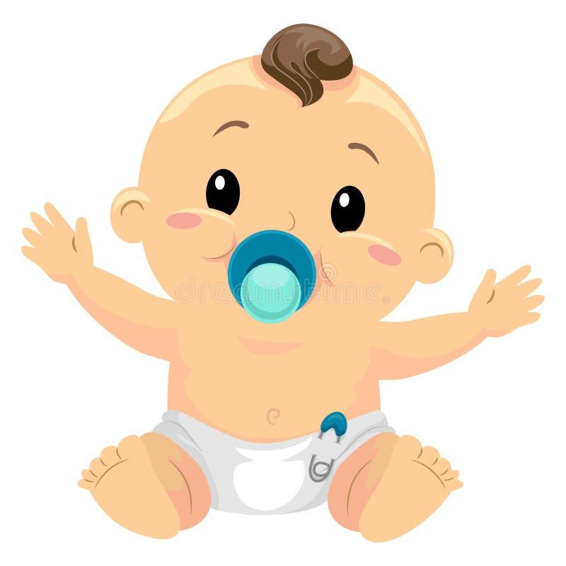 Ilustração do bebê pequeno que suga uma chupeta ilustração royalty free