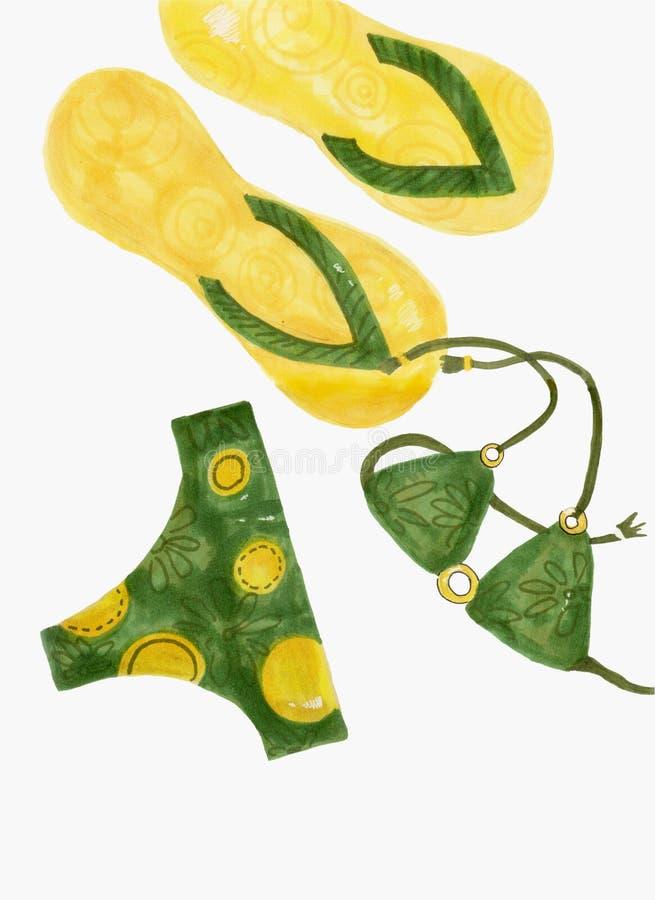 A ilustração do biquini da mulher isolou-se projeto da forma da roupa interior, roupa de banho ilustração royalty free