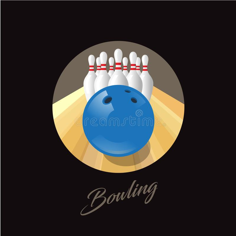 Ilustração do boliches Emblema do campeonato do boliches Pinos do logotipo do boliches e bal azul ilustração stock