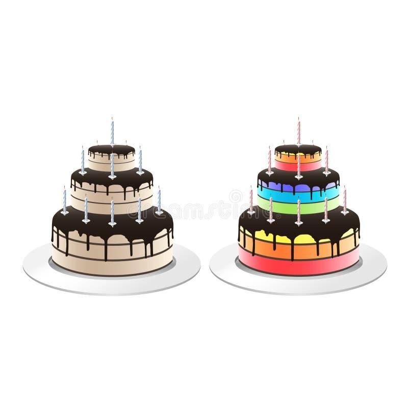 Ilustração do bolo de aniversário imagens de stock