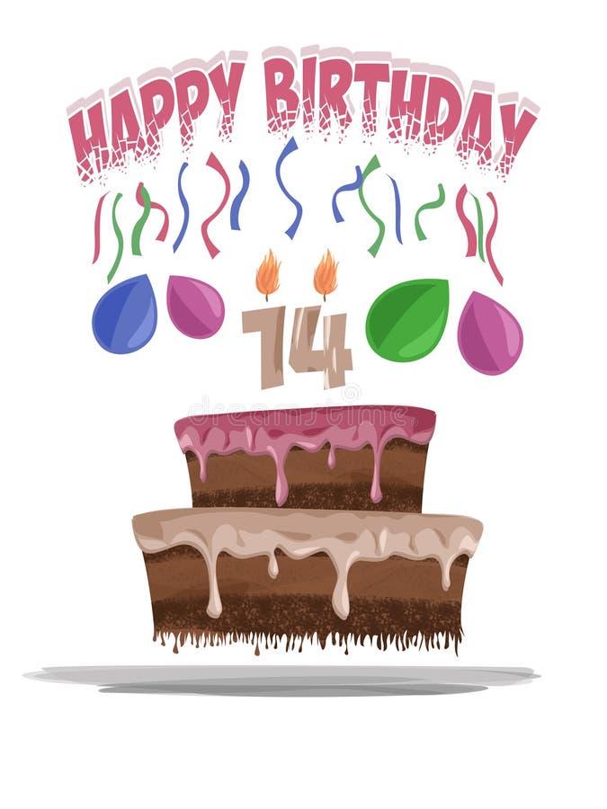 Ilustração do bolo de aniversário na idade de 14 imagens de stock