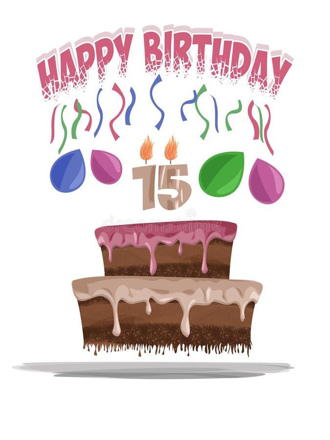 Ilustração do bolo de aniversário na idade de 15 imagem de stock