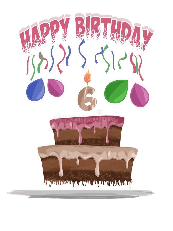 Ilustração do bolo de aniversário na idade de 6 fotografia de stock