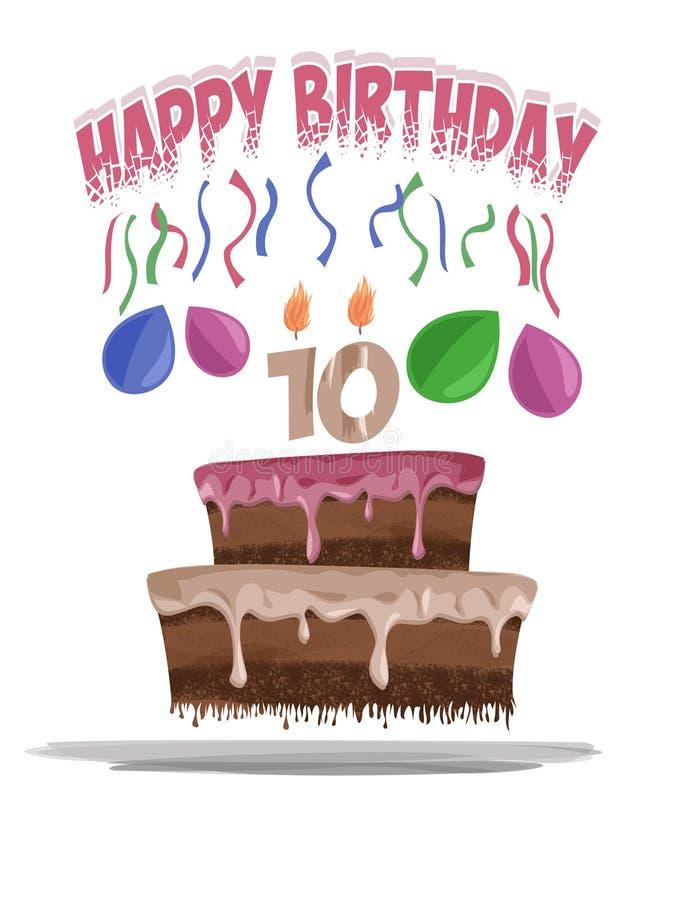Ilustração do bolo de aniversário na idade de 10 imagens de stock royalty free