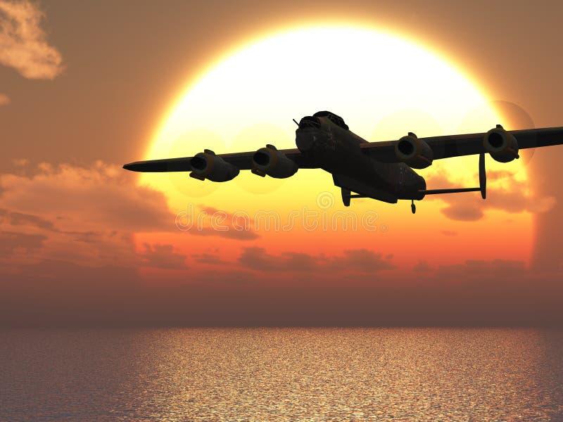 Ilustração do bombardeiro pesado de Lancaster ilustração stock