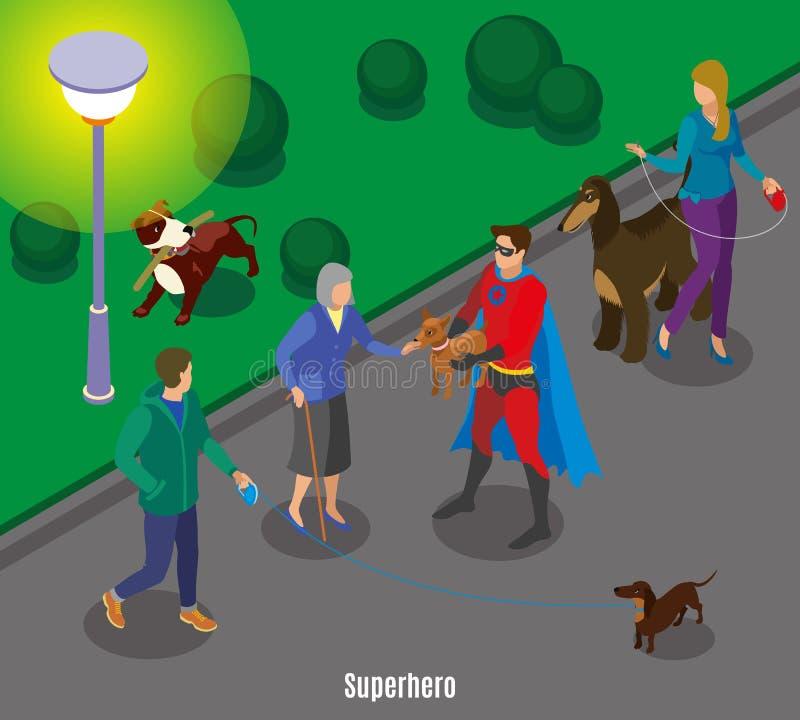 Ilustração do cão da terra arrendada do super-herói ilustração royalty free