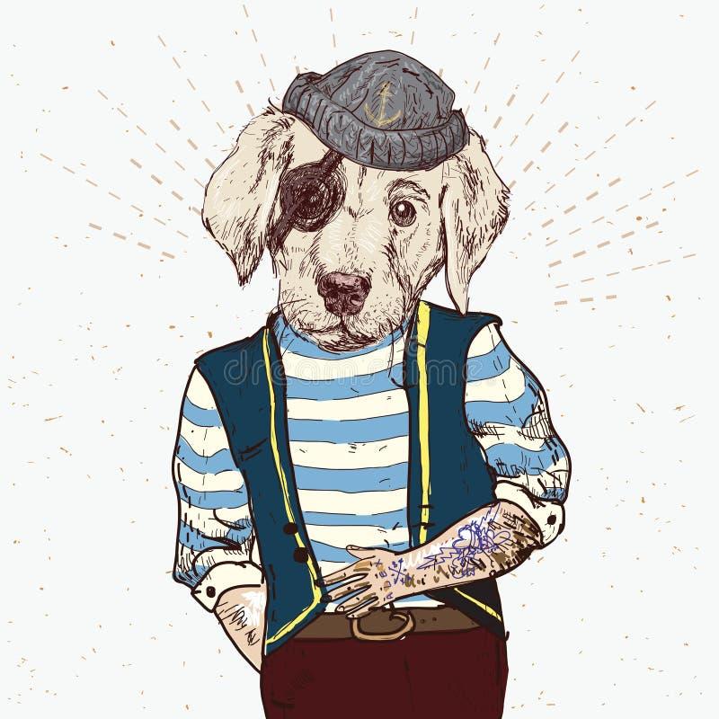 Ilustração do cão do pirata no fundo azul no vetor ilustração do vetor