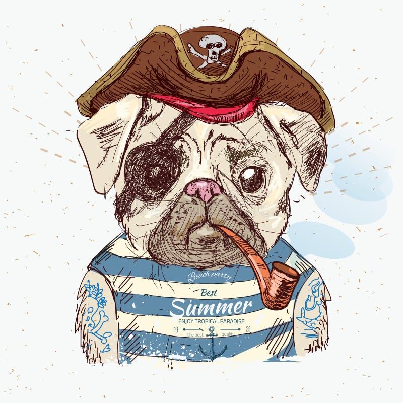 Ilustração do cão do pug do pirata ilustração stock