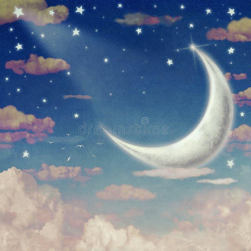 Ilustração do céu noturno com nuvens, lua e estrelas ilustração do vetor