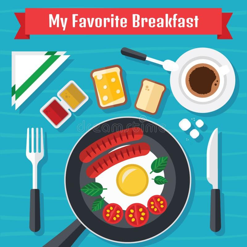 Ilustração do café da manhã com alimentos frescos em um projeto liso fotos de stock