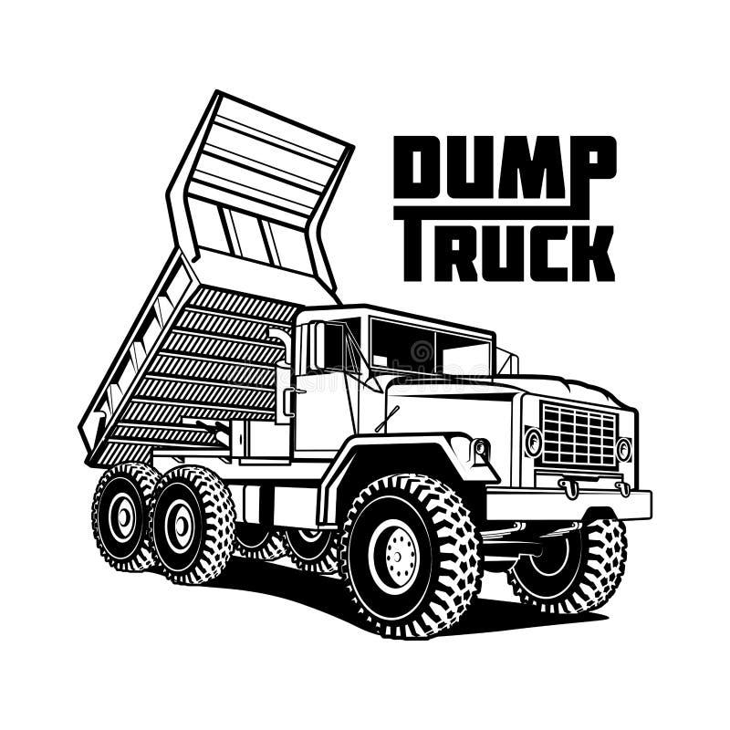 Ilustração do caminhão de caminhão basculante isolada no fundo branco ilustração royalty free