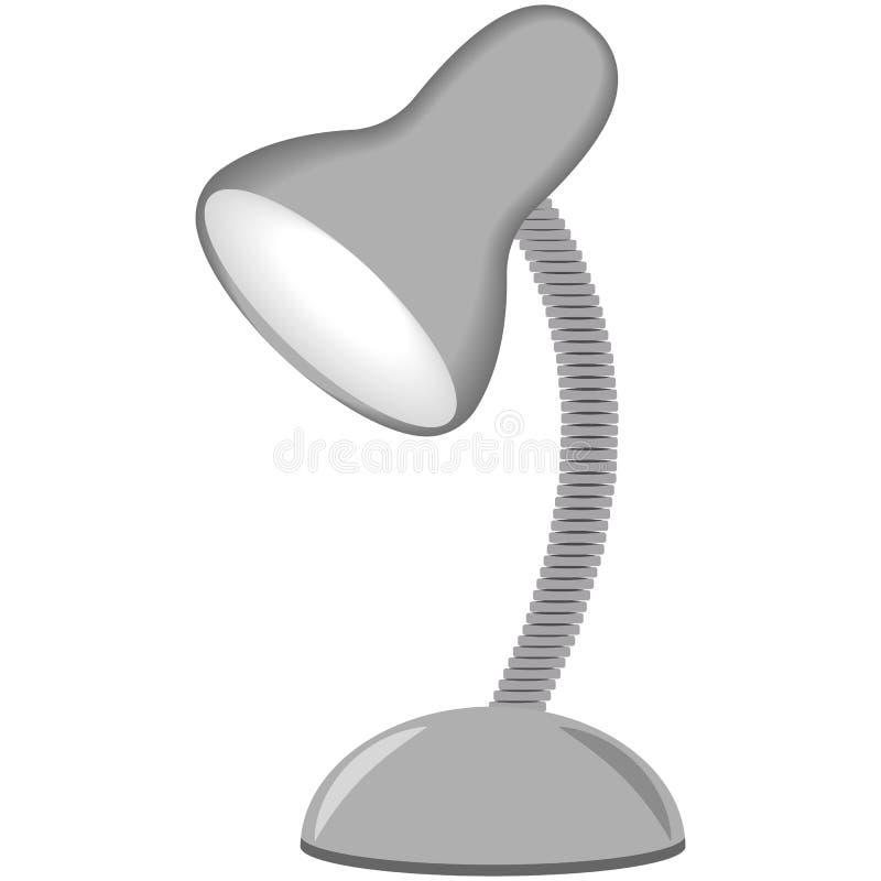 Ilustração do candeeiro de mesa, cor cinzenta, um fundo branco ilustração stock