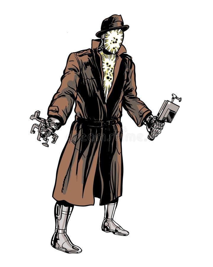 Ilustração do caráter da banda desenhada do cyborg do mistério ilustração royalty free