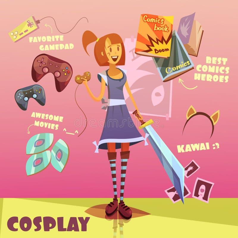 Ilustração do caráter de Cosplay ilustração royalty free