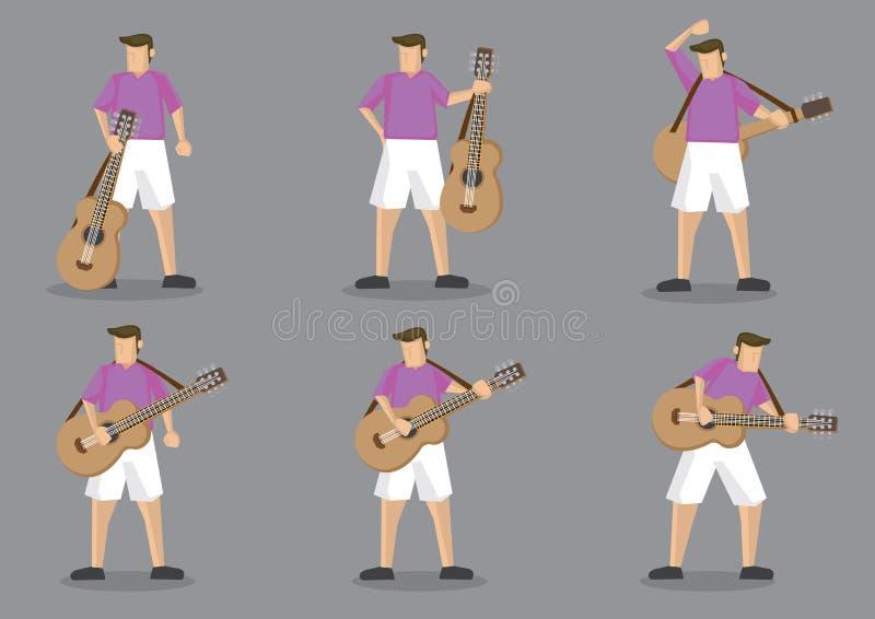 Ilustração do caráter do vetor do guitarrista e da guitarra acústica ilustração do vetor
