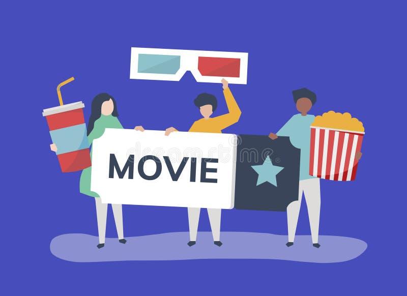 Ilustração do caráter dos povos com ícone dos filmes ilustração royalty free