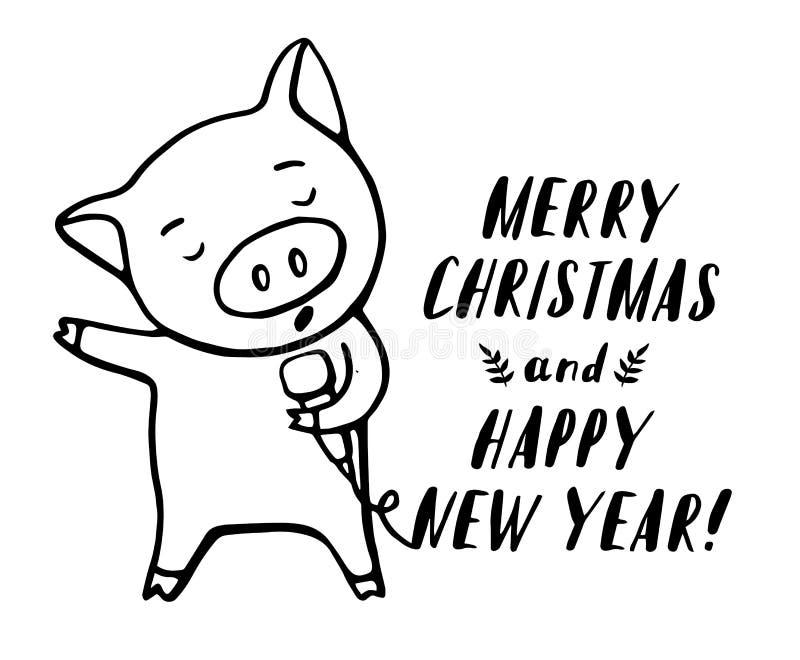 Ilustração do caráter engraçado do emoticon do porco Cantor do porco com microfone Ilustração tirada mão do grupo do vetor Natal ilustração stock