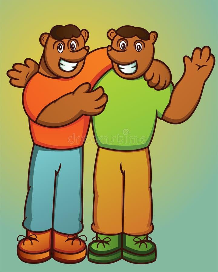 Ilustração do caráter feliz do animal dos desenhos animados de dois ursos do irmão ilustração stock