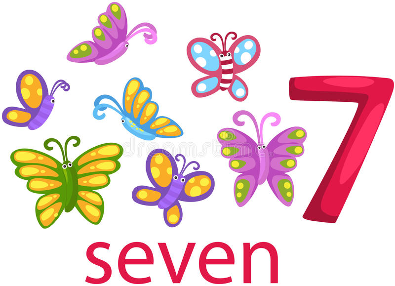 Caráter do número 7 com borboletas ilustração stock