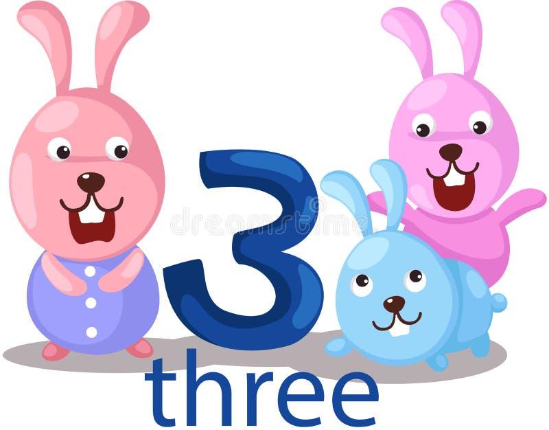 Caráter do número 3 com coelhos ilustração do vetor