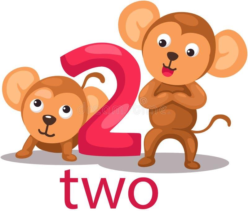 Caráter do número 2 com macaco ilustração royalty free