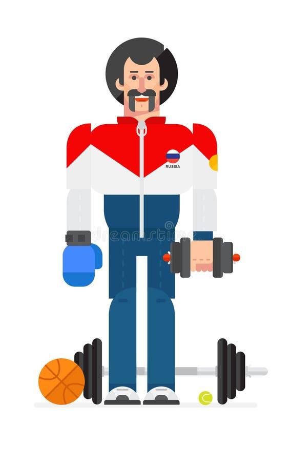 Ilustração do caráter do ` s do atleta em um estilo animado ilustração do vetor