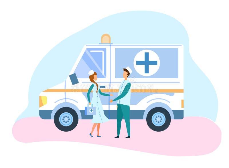 Ilustração do carro e do pessoal da ambulância da medicina ilustração do vetor