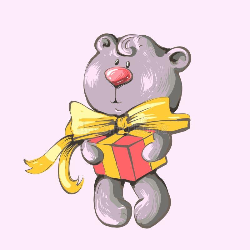 Ilustração do cartão com bebê bonito Teddy Bear com caixa de presente ilustração do vetor