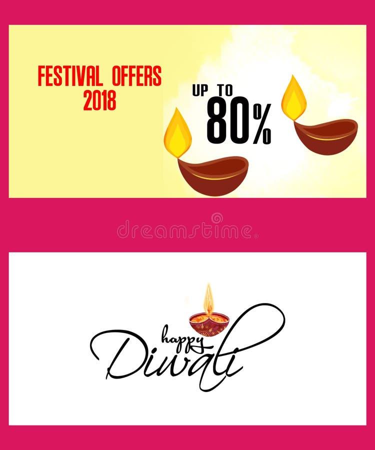 Ilustração do cartão no festival de Diwali com a lâmpada de óleo e elementos bonitos à moda de Diwali ilustração royalty free