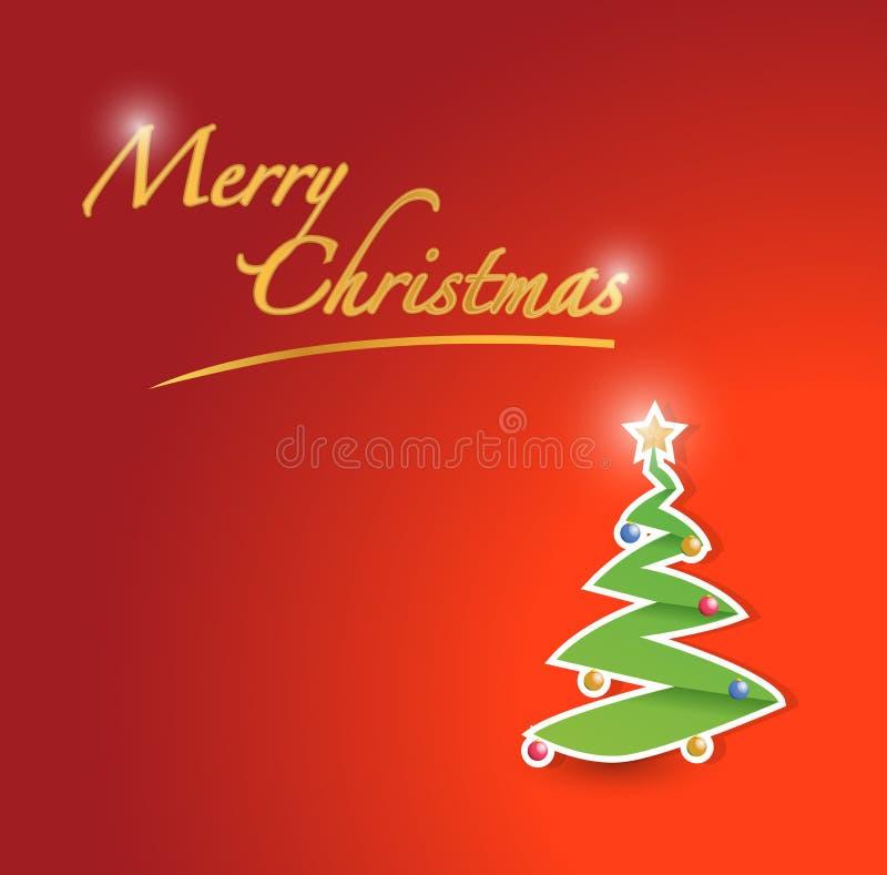 Ilustração do cartão vermelho da árvore do Feliz Natal ilustração stock