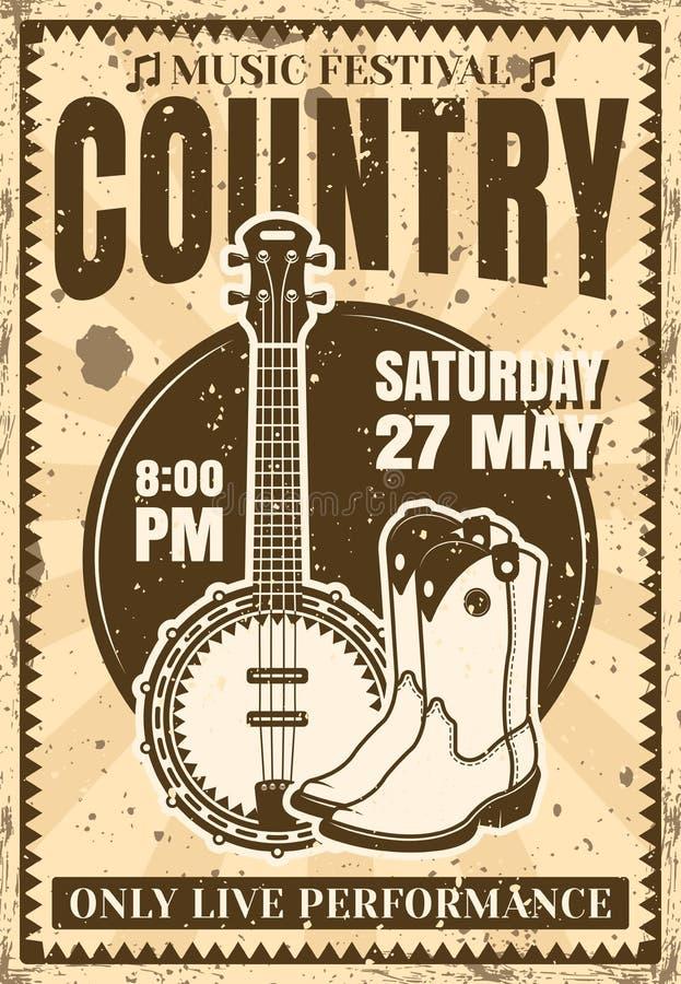 Ilustração do cartaz do vintage do festival de música country ilustração do vetor