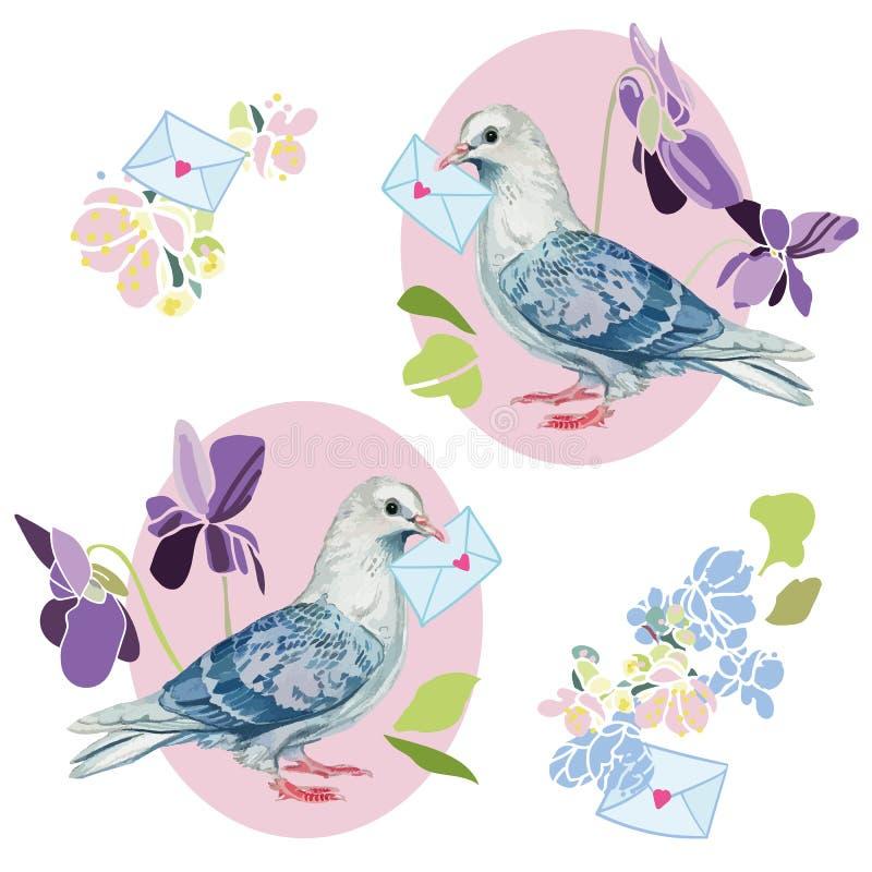 Ilustração do casamento com flor e pomba ilustração stock