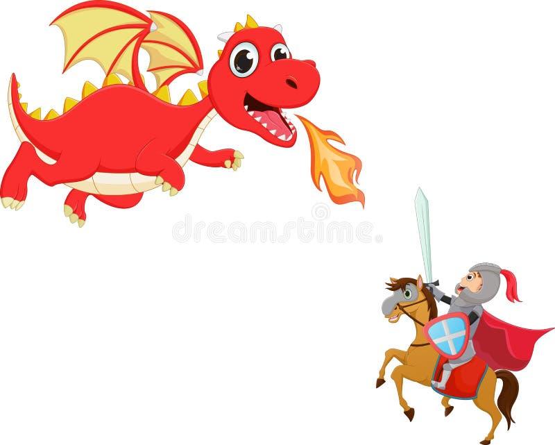 Ilustração do cavaleiro corajoso que luta com um dragão ilustração do vetor
