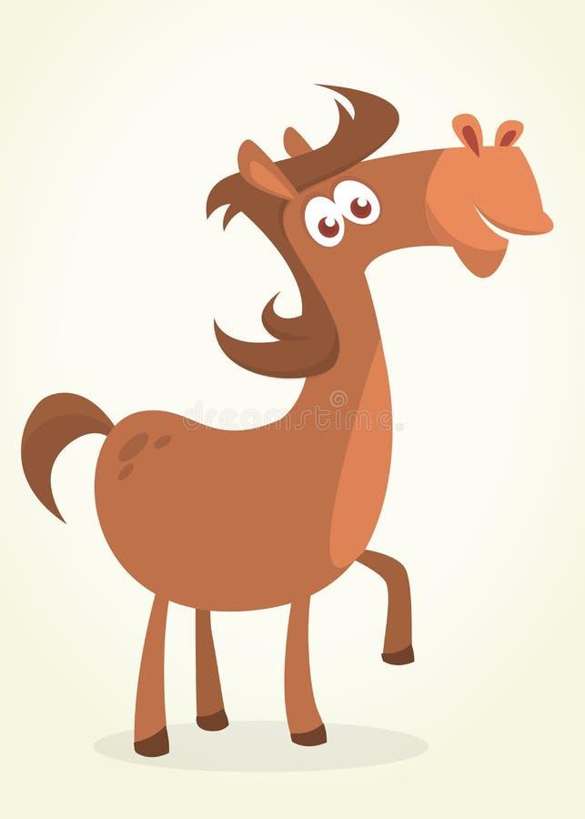 Ilustração do cavalo da castanha do puro-sangue Caráter do cavalo do vetor dos desenhos animados ilustração stock