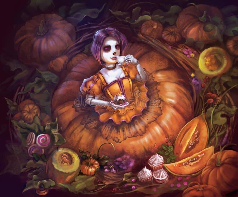 Ilustração do chá bebendo da princesa ilustração do vetor