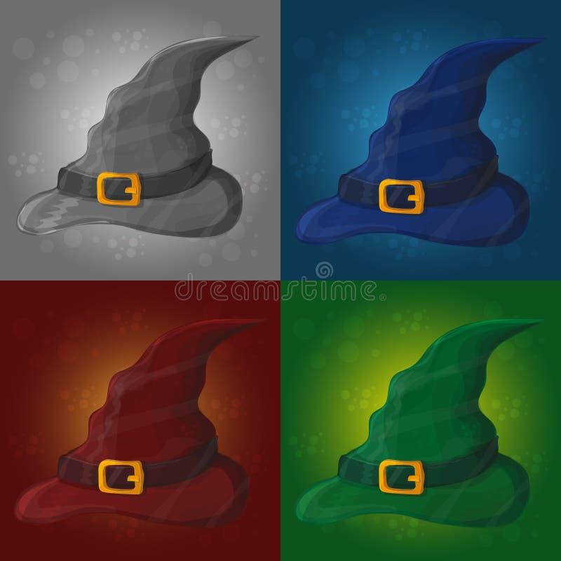 Ilustração do chapéu alto da bruxa no fundo abstrato - cartão do Dia das Bruxas ilustração do vetor