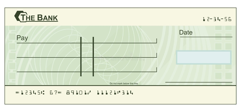 Ilustração do cheque em branco