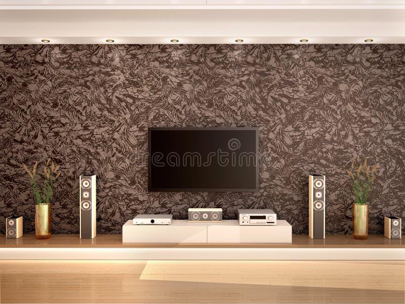 Ilustração do cinema em casa moderno em um interior acolhedor ilustração royalty free