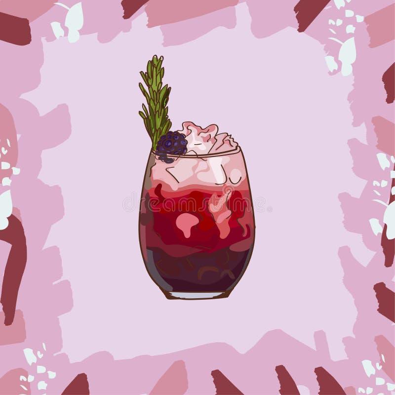 Ilustração do cocktail da amora Vetor tirado da bebida da barra mão clássica alcoólica Pop art ilustração royalty free
