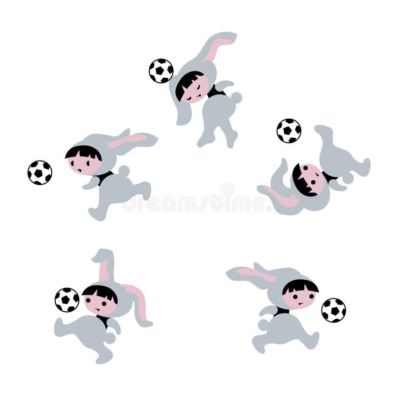 Ilustração do coelhinho da Páscoa com futebol ilustração royalty free