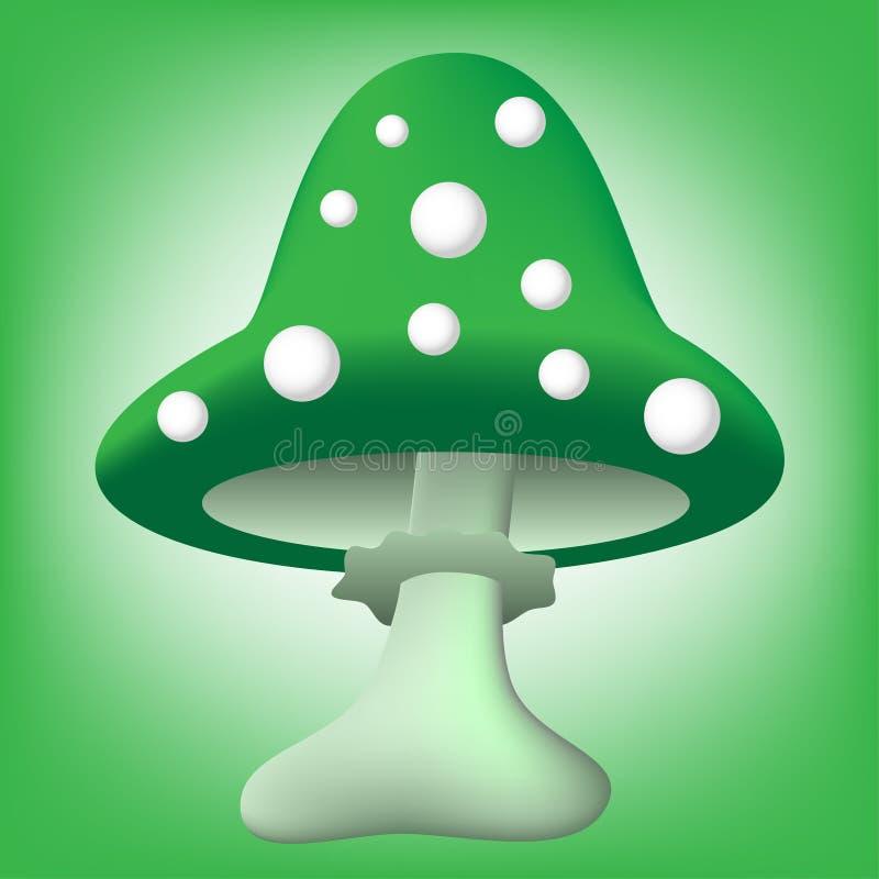 Ilustração do cogumelo venenoso verde dos desenhos animados fotografia de stock royalty free