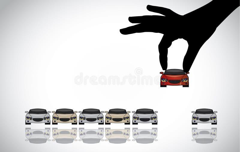 Ilustração do conceito chave da venda ou do carro do cuidado ilustração do vetor