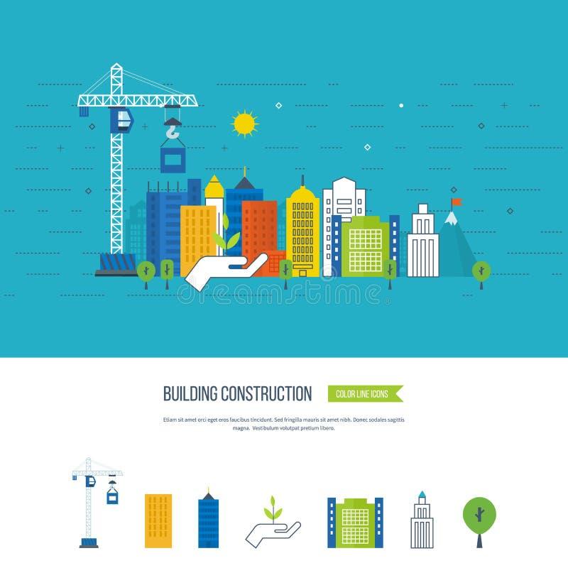 Ilustração do conceito com ícones da construção civil e da paisagem urbana ilustração do vetor