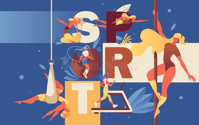 Ilustração do conceito com as moças que fazem atividades do esporte no gym e na associação Ioga, ioga da rede, correndo na escada ilustração do vetor