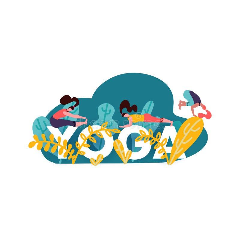 Ilustração do conceito com palavra grande IOGA e meninas que fazem as várias poses, as folhas e as hortaliças da ioga isoladas no ilustração royalty free