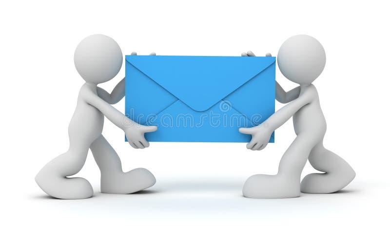 Ilustração do conceito 3d do trabalhador postal do email ilustração do vetor