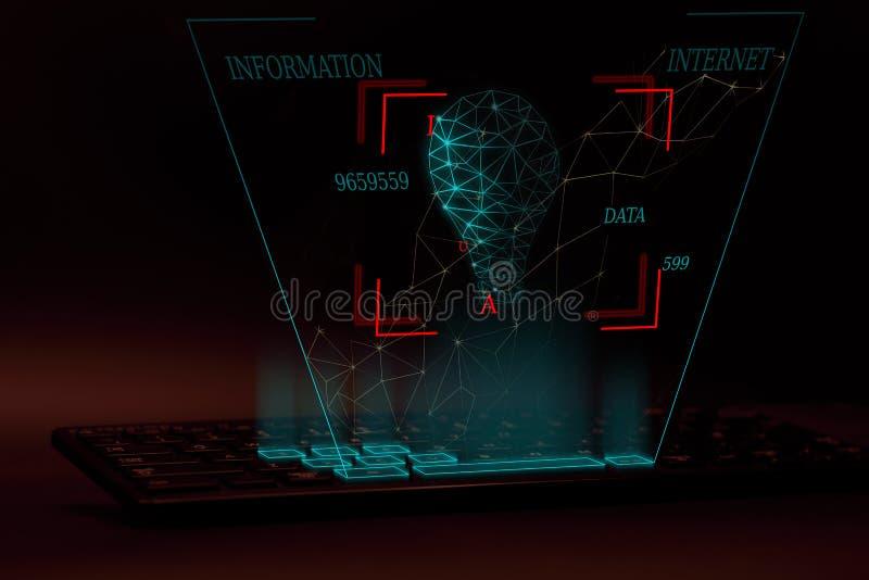 Ilustração do conceito 3D do Internet e do desenvolvimento da informação fotografia de stock royalty free